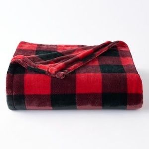 Red & Black Plaid Oversized Plush Throw Blanket